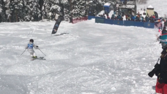 Amara kirk eyes finish line and state championship mogul titile. small