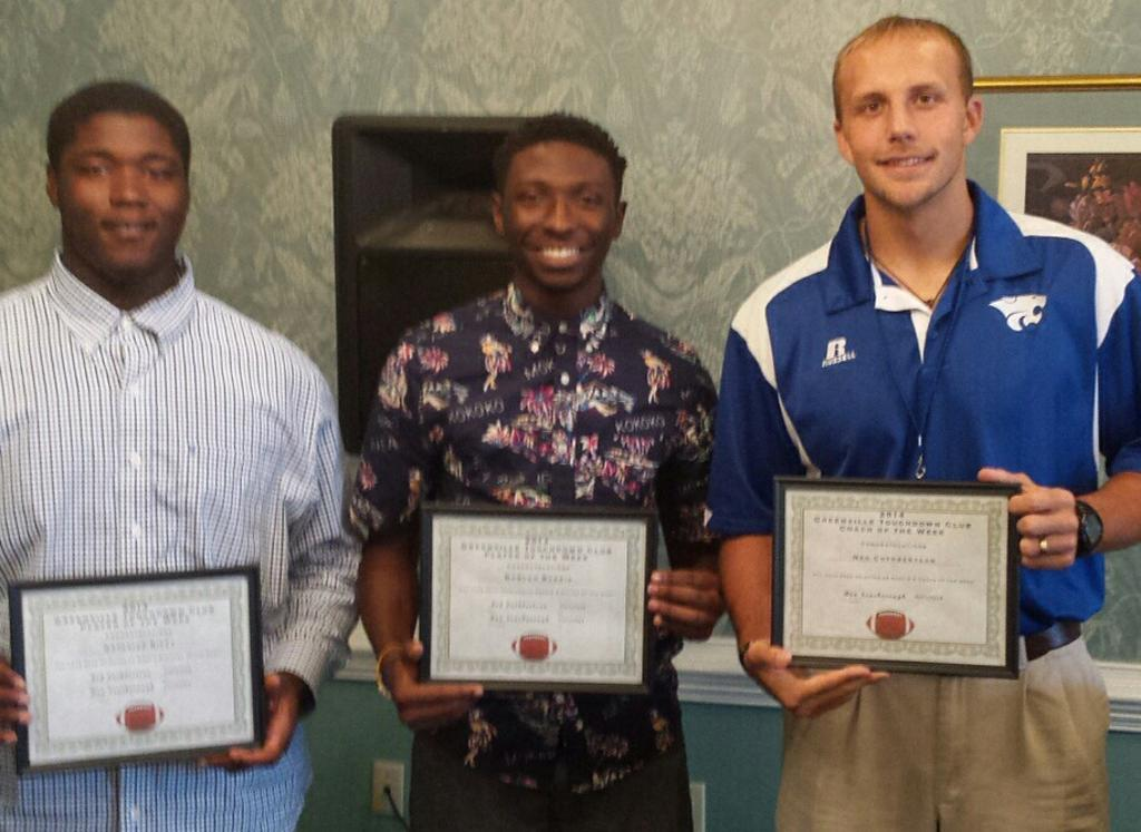 Congratulations to Natavius Riley, Raquan Burris and Coach Ned Cuthbertson for receiving the Players and Coach of the week from the Greenville Touchdown Club