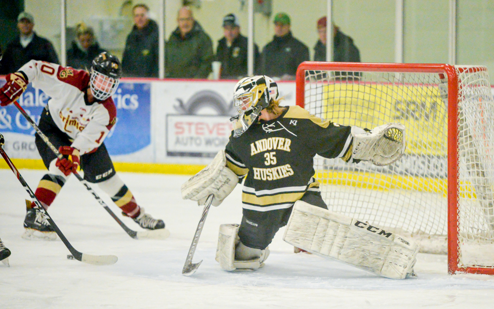 Andover's goaltender Amanda Pelkey gets the shutout Tuesday night in a Northwest Suburban Conference rivalry game against Maple Grove. The Huskies beat the Crimson 3-0 in Maple Grove. Photo by Earl J. Ebensteiner, SportsEngine