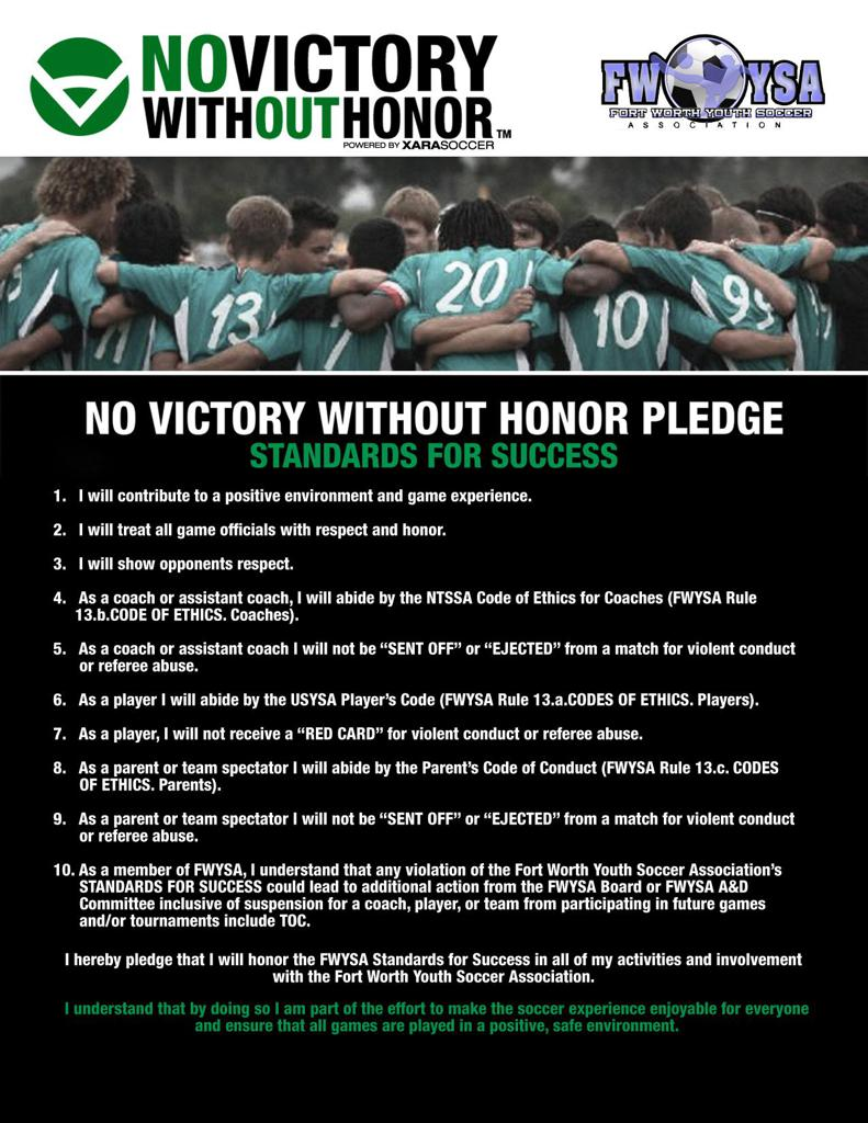 NO VICTORY WITHOUT HONOR PLEDGE