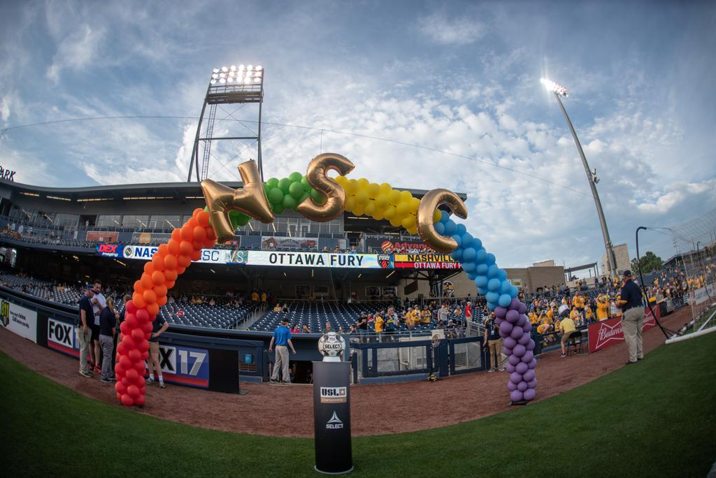 Nashville SC Balloon Arch for Pride Weekend