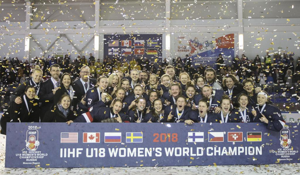 Team USA claiming gold at the 2018 IIHF Under-18 Women's World Championship