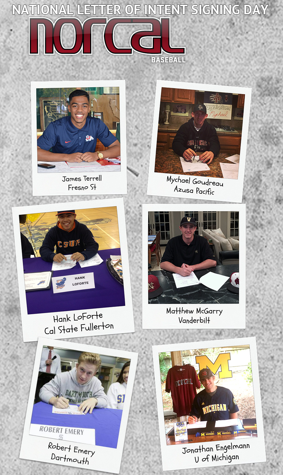 We are proud to present the NorCal Baseball 2015 National Letter of Intent Signees. Congrats to these fine gentlemen for taking the next step in their baseball and academic careers.