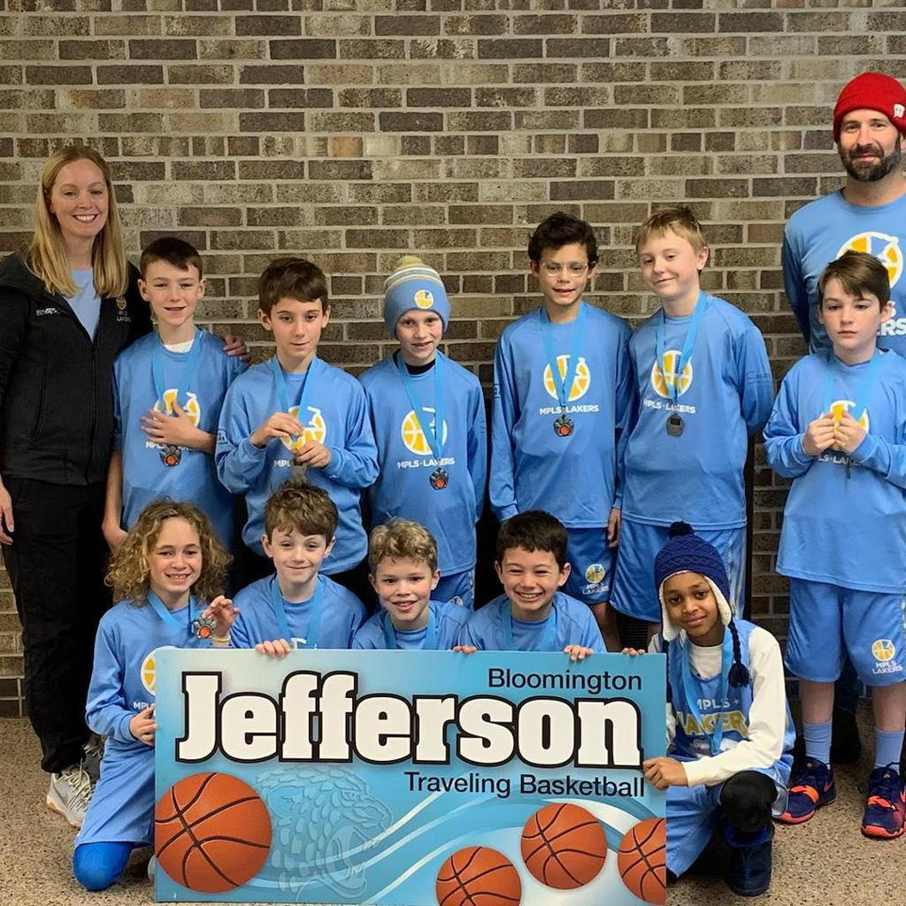Minneapolis Lakers Boys 4th Grade Gold pose with their hardware after taking 2nd Place at efferson Jaguar Classic