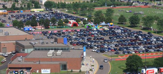 Full parking lot at National Sports Center