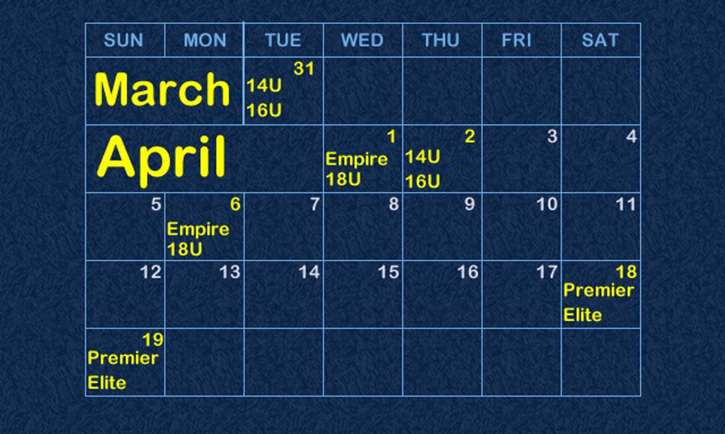 Tryout Calendar 2015