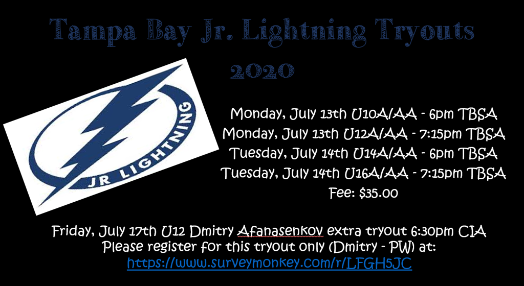 Tampa Bay Jr Lightning Tryouts 2020
