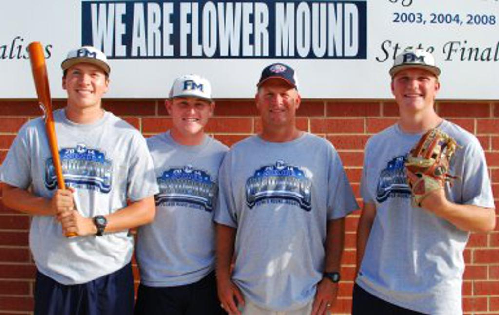 State Championship infielders Sean Wymer, Casey Jacobsen and Noah Hill with Head Coach Danny Wallace