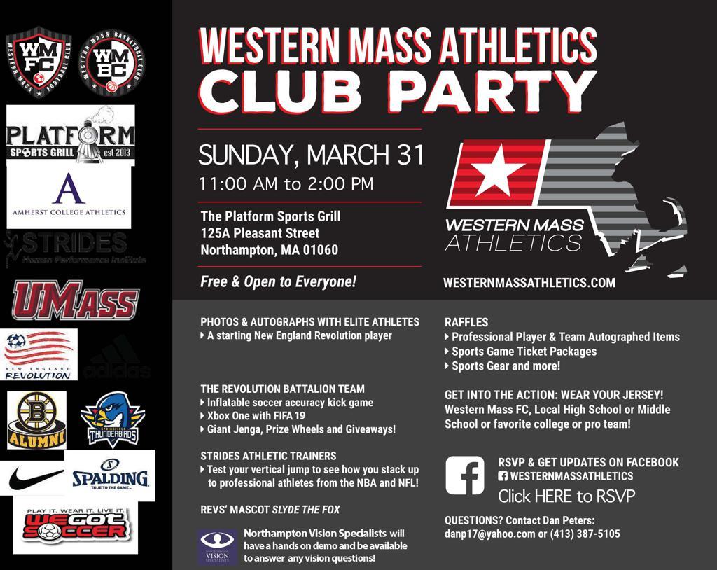 Western Mass Athletics Club Party flier