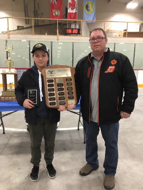 "Rob Bassett - Peewee Director presenting Reed Scaddan with the Clifford Duchesne Memorial Award - MVP at Peewee ""AA"" Provincials."