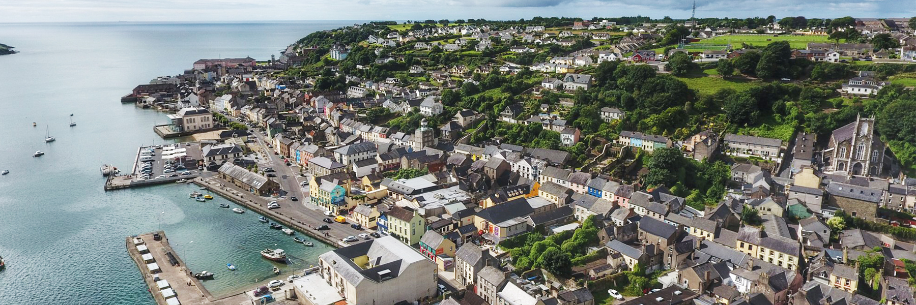 Bird's eye view of Youghal Ireland with the harbour, houses and green parks