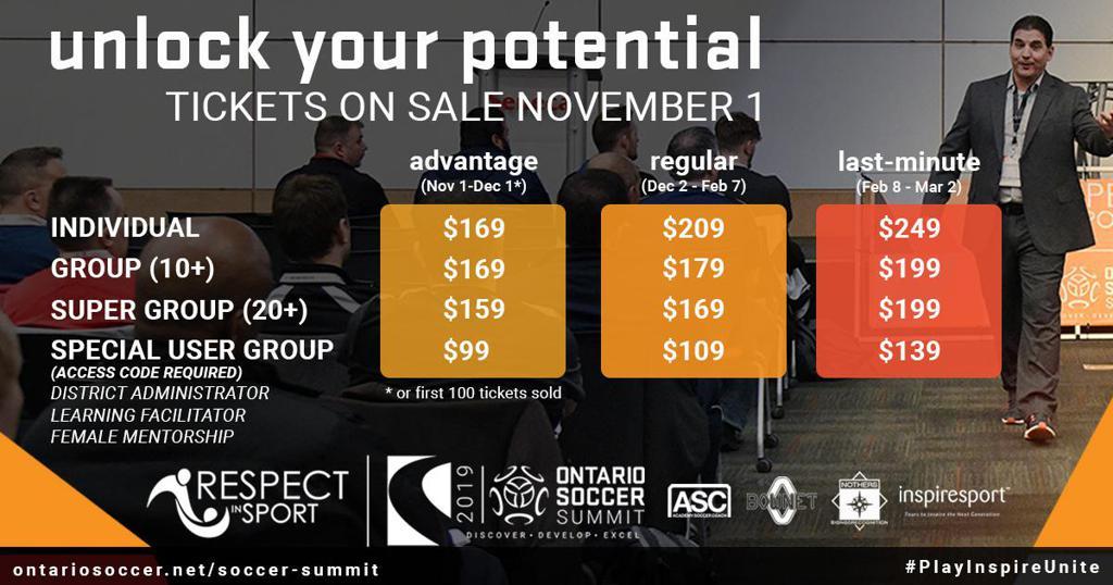 Ontario Soccer Summit 2019 ticket pricing has been released