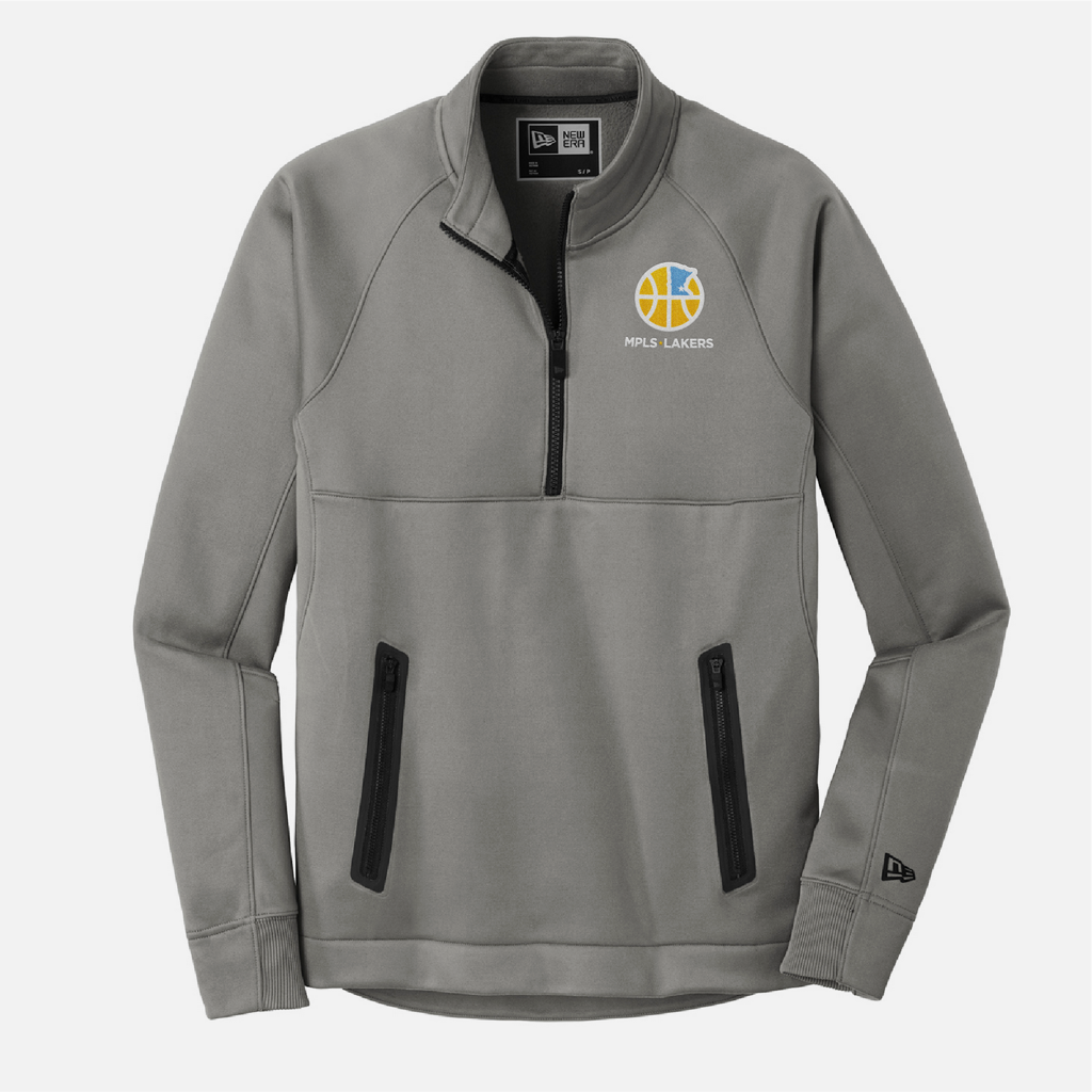 Official Mpls Lakers Youth Traveling Basketball Program Inc apparel and gear in Minneapolis, MN: Men's Grey 1/4 Zip Pullover with embroidered logo and text
