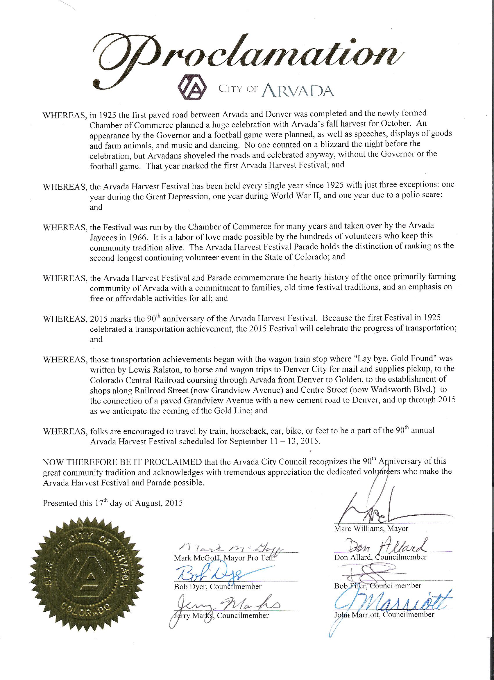 City's Proclamation to the Festival