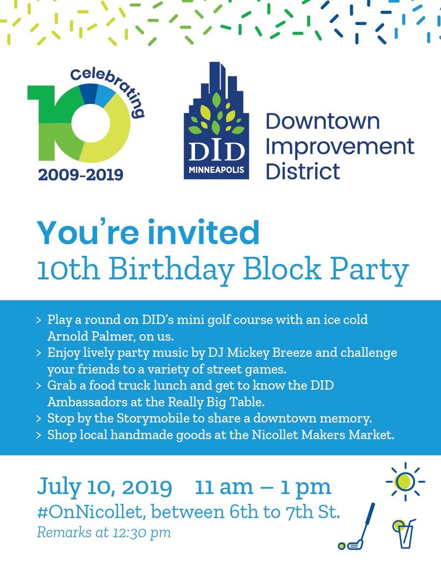 DID 10 Year BIrthday Block Party Invite