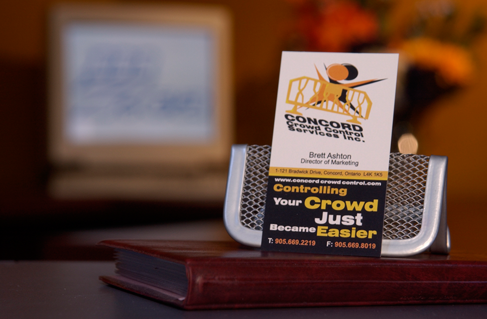 Mississauga Business Card Design by Kevin J. Johnston - Concord Crowd Control