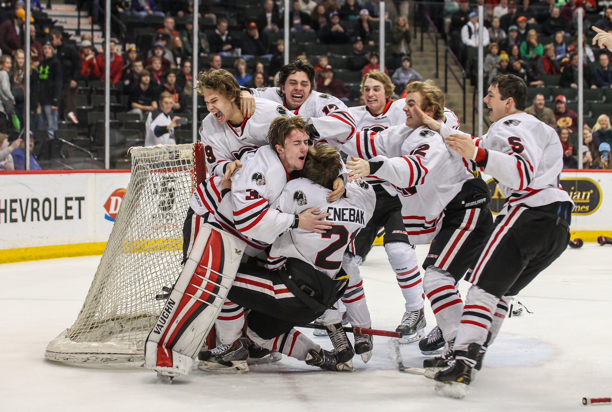 celebrates after winning the Class 2A State Championship game last March at the Xcel Energy Center. The Panthers, ranked No.2-2A, begin their new season Tuesday at home against