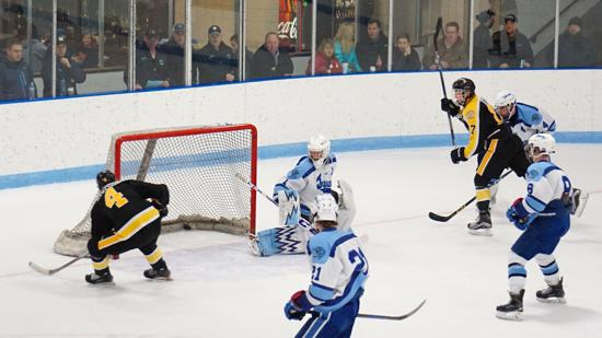 Nolan Sawchuk scores for Burnsville in Tuesday night's 2-1 win over Jefferson. Credit: YHH.