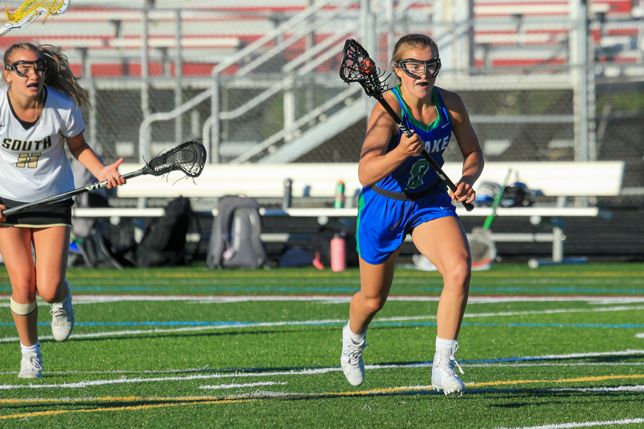 Blake's Ellie Morrison (8) had a team-high five goals in the Bears' 15-13 loss to Lakeville South on Friday to conclude the regular season for both teams. Photo by Jeff Lawler, SportsEngine