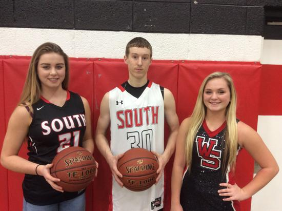 December Player of the Month Sabrina Andringa, Basketball, Keaton Stremick, Basketball, Breanna Henes, Pom