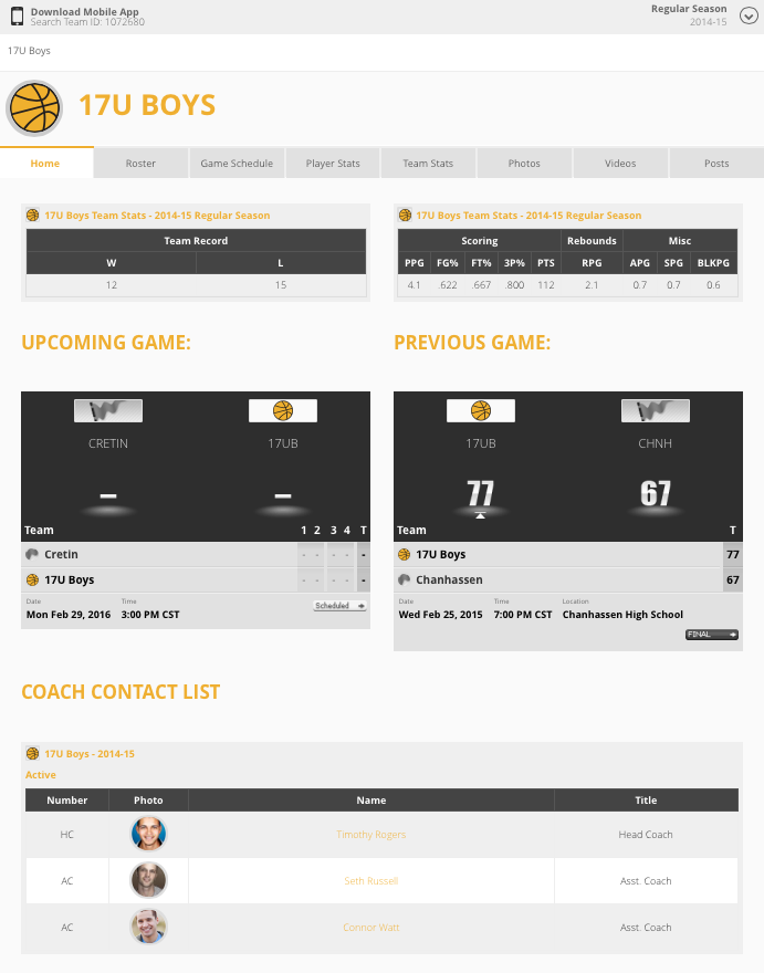 Example Competitive Team Page