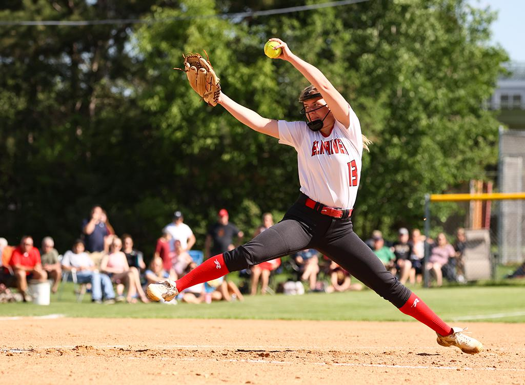 Annie Volkers pitched and complete game for Elk River, keeping Centennial scoreless through four innings and tallying 6 strikeouts at Centennial High School on Tuesday night. Photo by Cheryl A. Myers, SportsEngine