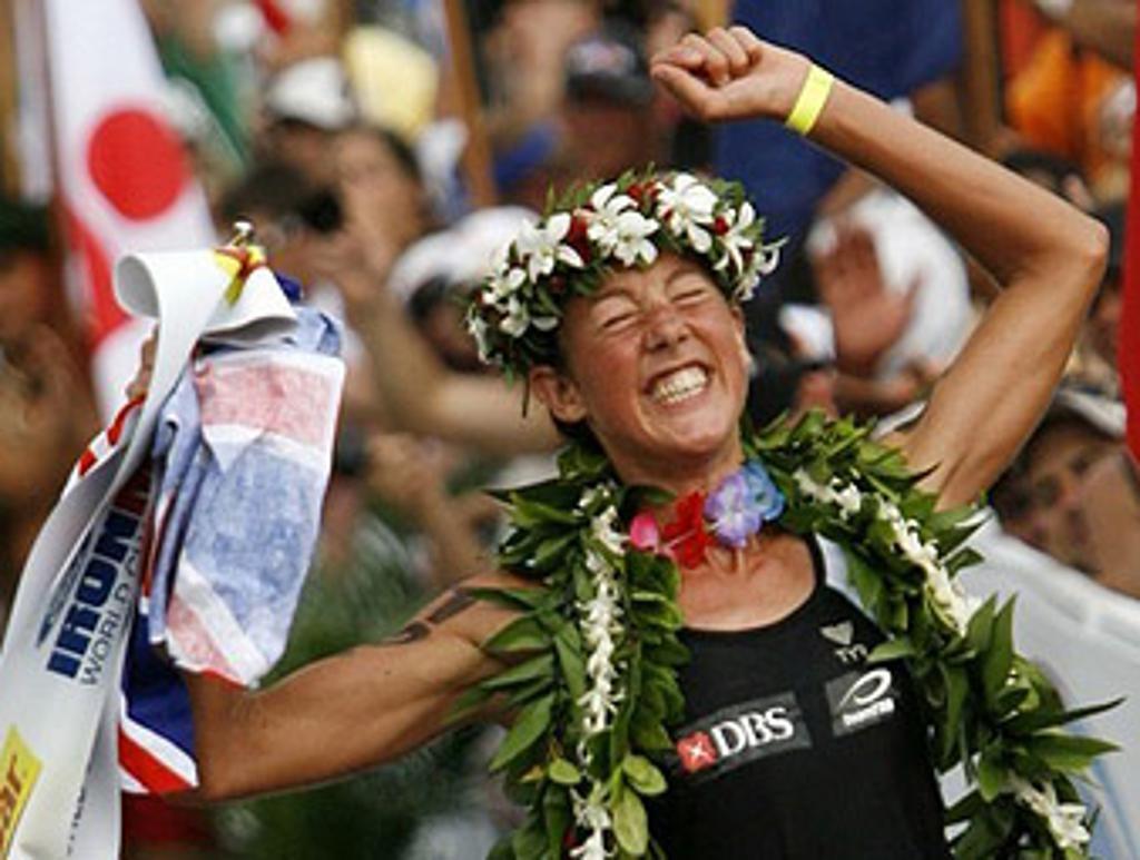Triathlete celebrating