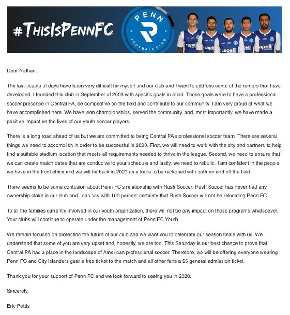 Message from Eric Pettis, Penn FC Pro Owner