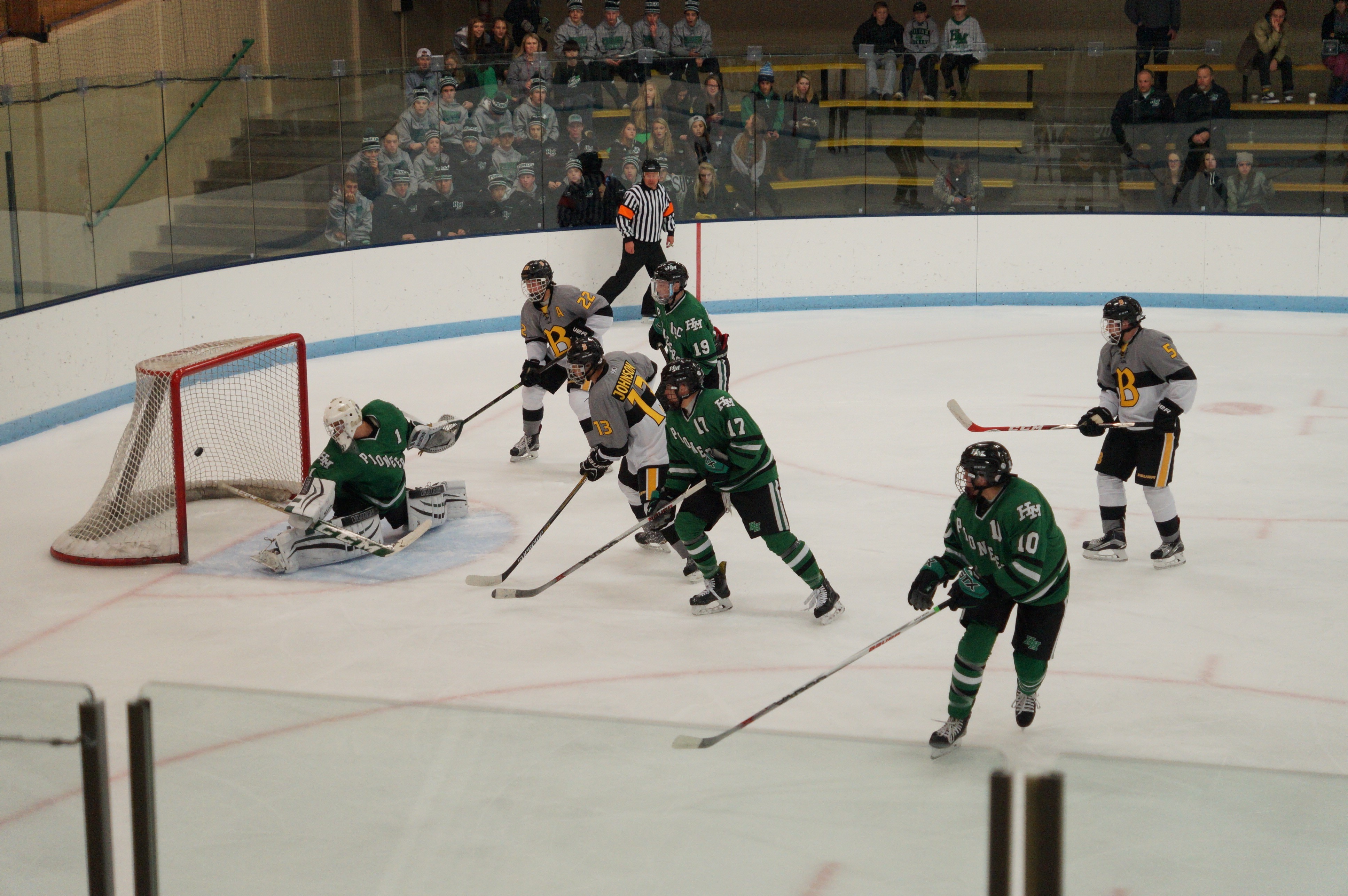 Burnsville (shown in a game against Hill-Murray earlier this season) took out top-seeded St. Thomas Academy 7-1 in the Section 3-2A playoffs. Credit: Peter Odney.