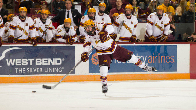 Justin Kloos is one of 10 Lakeville natives participating in this week's college hockey playoffs. Credit: Gopher Athletics.