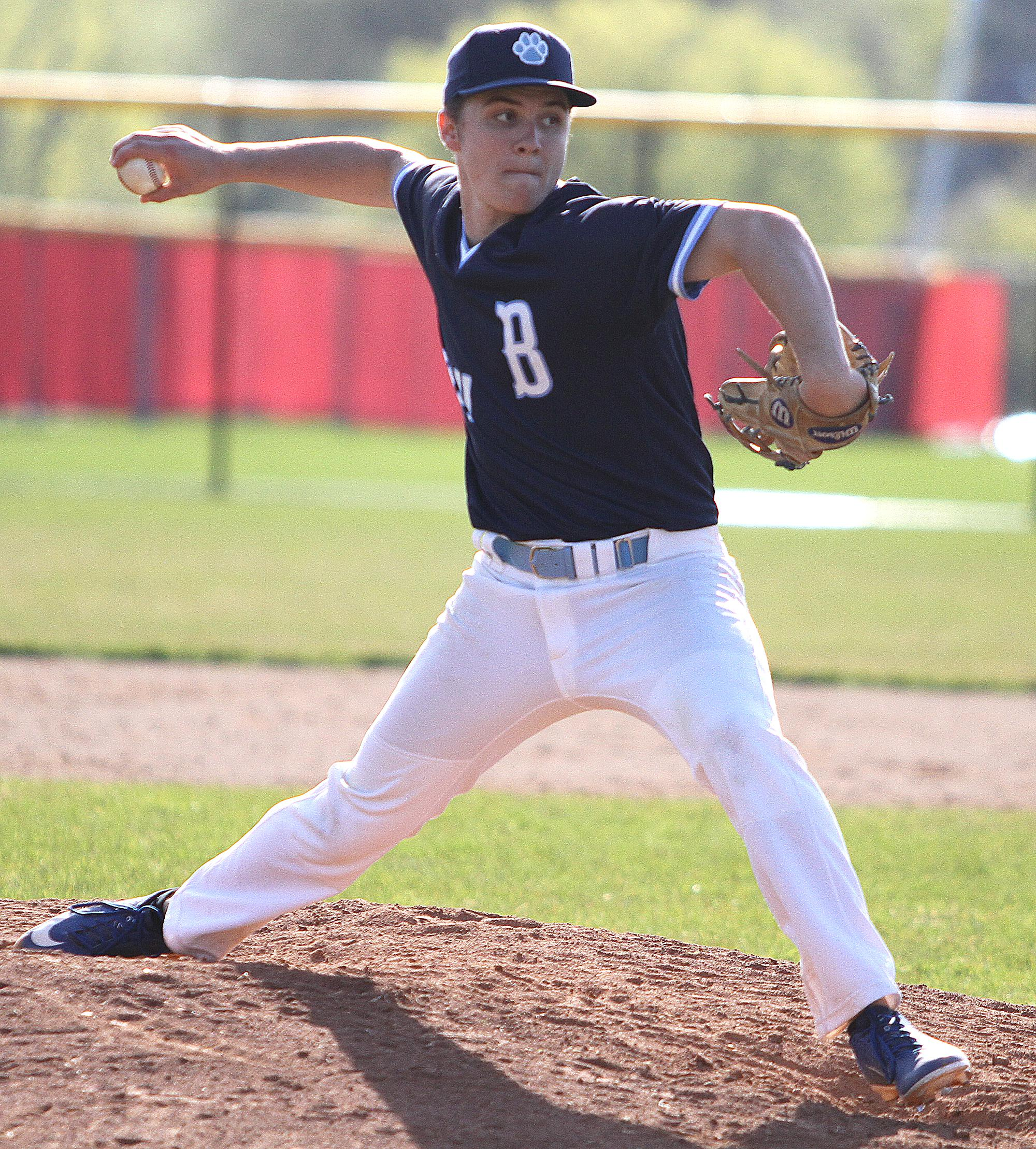 Senior righthander Jack Haring earned the win on the mound, improving his record to 4-0 this season by throwing five innings of shutout ball in which he struck out five, and allowed two hits and three walks. Photos by Drew Herron, SportsEngine