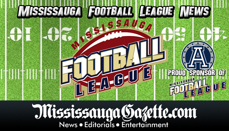 Mississauga Football League sponsored by The Toronto Argonauts and The Mississauga Gazette and The Mississauga News. Kevin J. Johnston and Bonnie Crombie