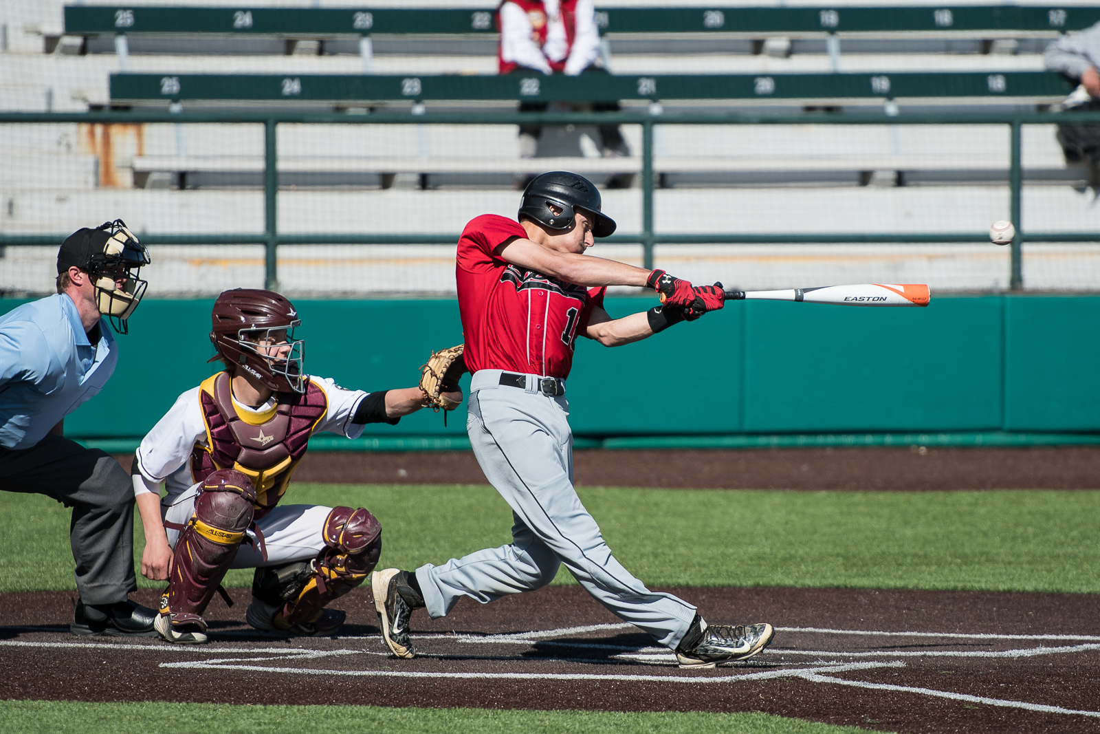 Duluth East's Joey Zwak with one of his many hits in East's 10-7 win over Denfeld at Wade Stadium in Duluth, MN.  (Photo By Matthew Moses)