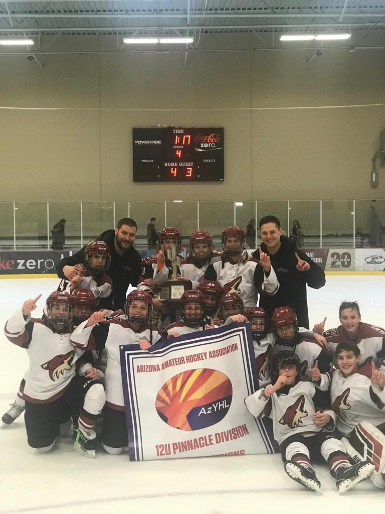 CONGRATULATIONS TO THE JR COYOTES 12U Elite team the 2018-19 ARIZONA TRAVEL HOCKEY STATE CHAMPIONS