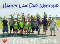 Creeks Middle School Girls celebrating their dads at the Father's Day Invitational - 2016