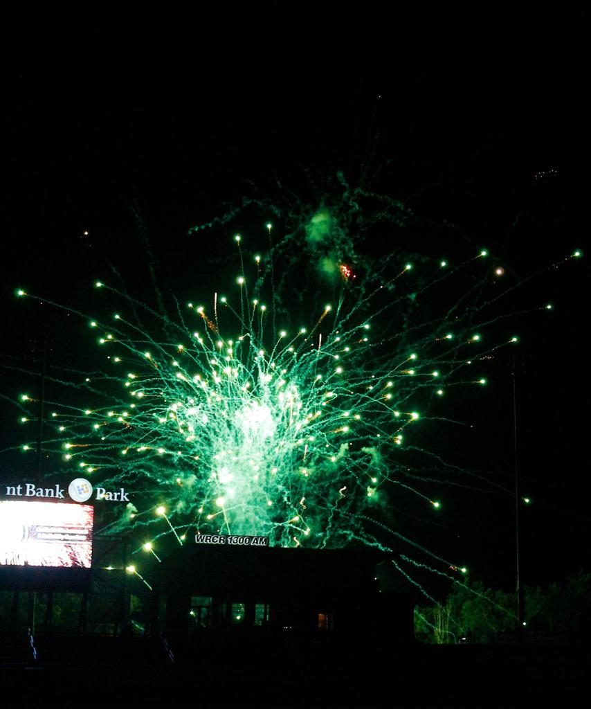 Spectacular green fireworks during the Rockland Boulders Irish Heritage Day in Pomona, NY.