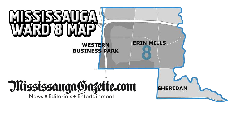 Mississauga Ward Map - Mississauga Ward 8 Map and Mississauga Ward 8 Boundaries - Mississauga News and Newspaper - Khaled Iwamura - Insauga.com - Kevin J. Johnston