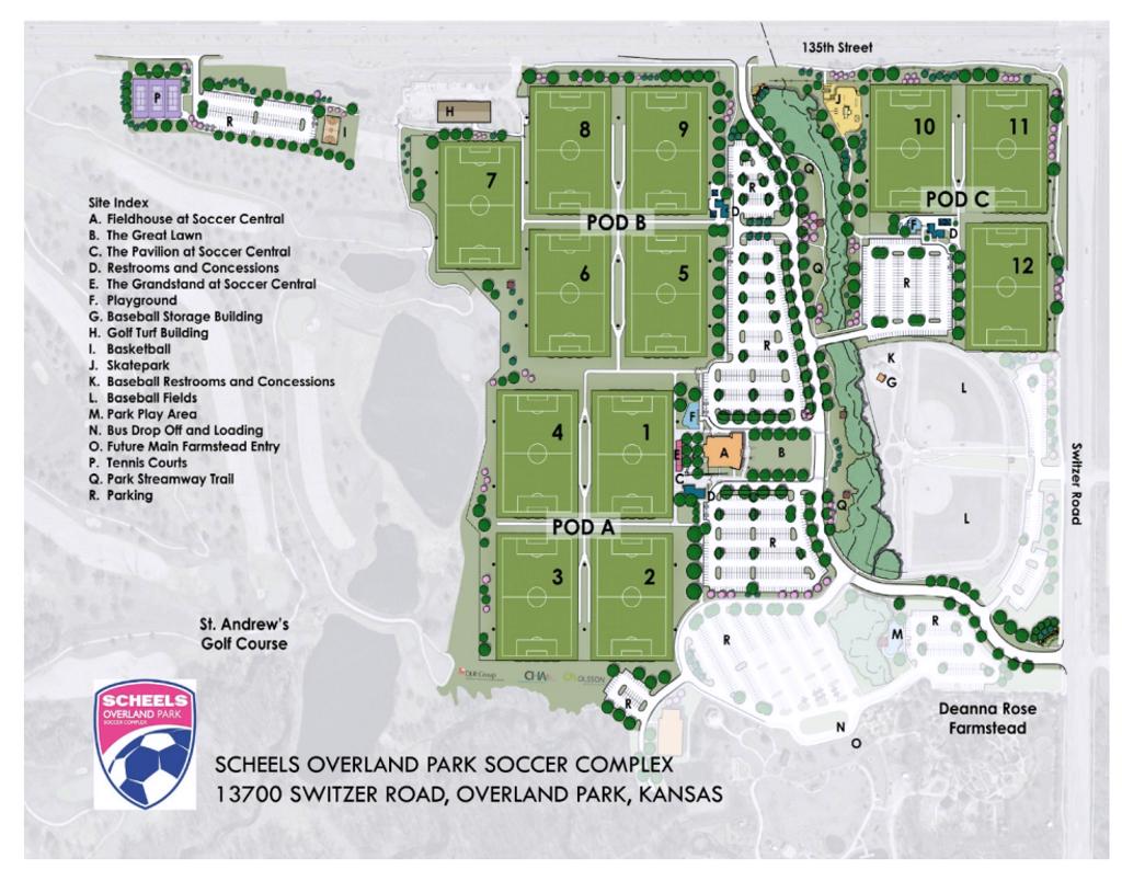 Overland Park Soccer Complex Map Fields & Complexes Overland Park Soccer Complex Map