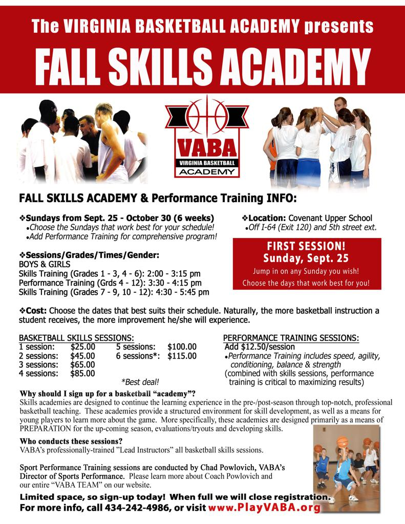 fall skills academy starts sunday sept th if you have any questions please do not hesitate to email me we are looking forward to exciting fun super powerful and productive basketball training