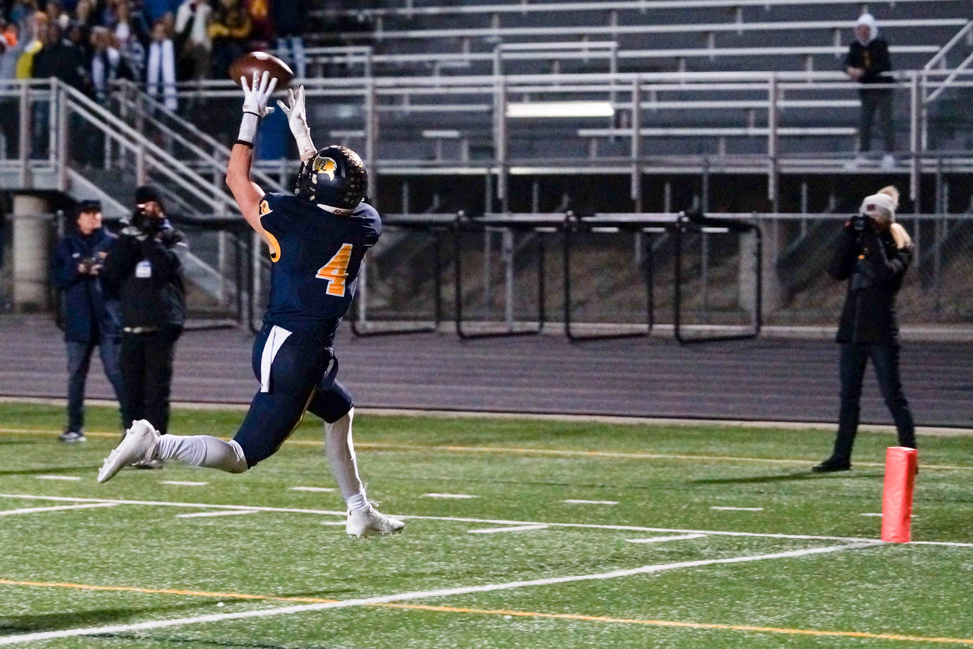 A wide open Austin Gordon hauls in what proved to be the game-winning touchdown in Prior Lake's 20-14 defeat of Cretin-Derham Hall on Friday in the first round of the Class 6A state tournament. Photo by Korey McDermott, SportsEngine