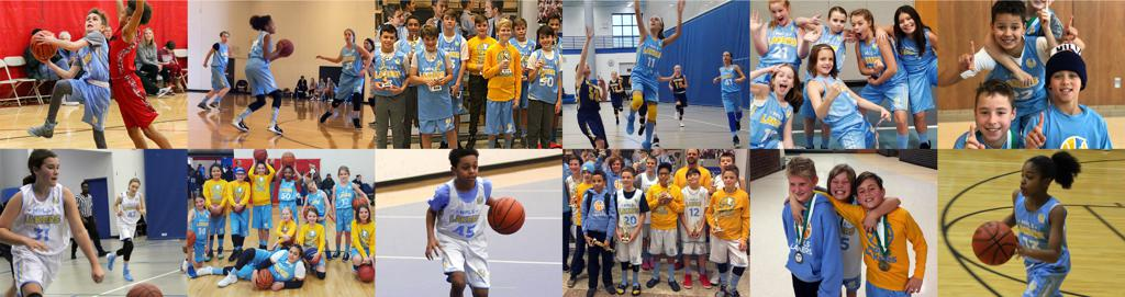 Collage of Boys & Girls Mpls Lakers basketball players during the season. Posing, playing and hanging out