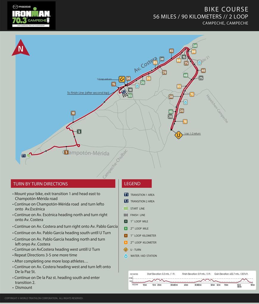 Bike course map IM703 Campeche