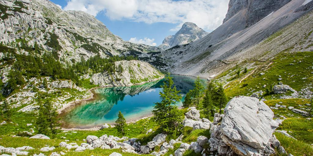 Scenic lake among mountains landscape