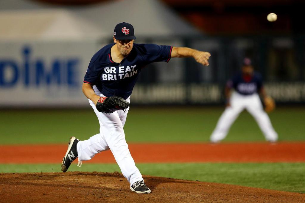 Michael Roth pitching for Great Britain