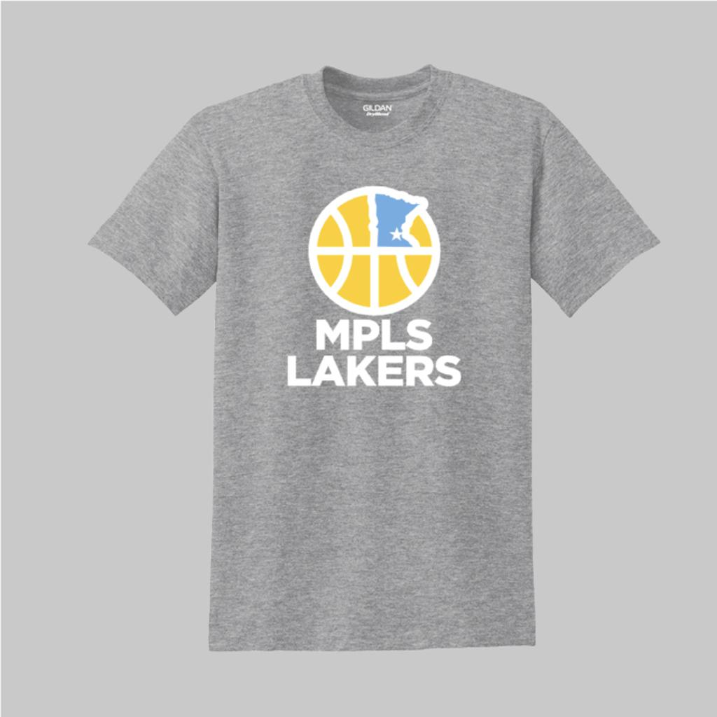 Gray practice t-shirt with Mpls Lakers logo on front