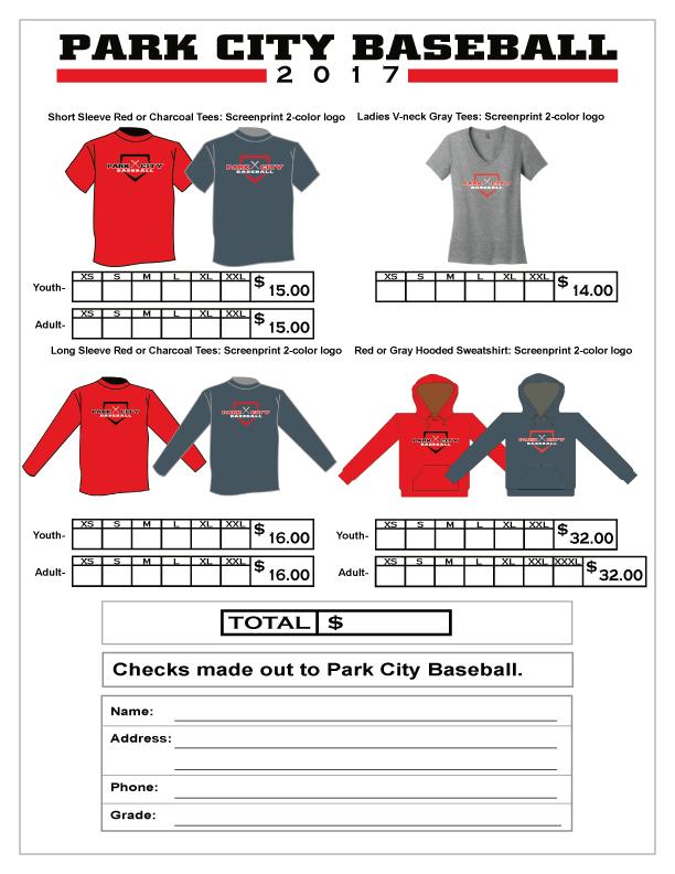 2017 Park City Baseball Spirit Wear Form 1