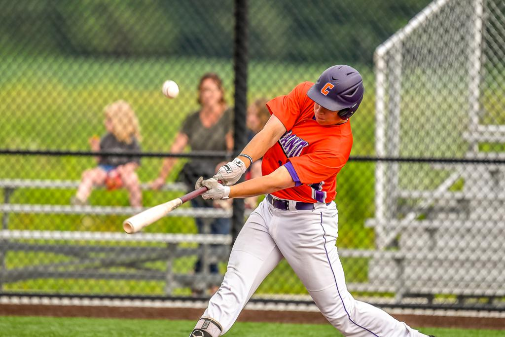Cortland Crush Garrett Callghan (15) hits the ball against the Sherrill Silversmiths in New York Collegiate Baseball League action at Gutchess Lumber Sports Complex in Cortland, New York on Thursday, July 12, 2019. Sherrill won 6-3.