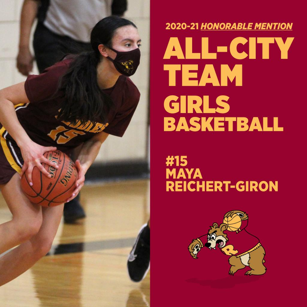 Minneapolis Roosevelt High School in South Minneapolis.  #15 Maya Reichert-Giron was named as an Honorable Mention to the All-City Boys Basketball Team. This photo is her in action during one of the Girl's basketball games, Maya brings the ball up the cou