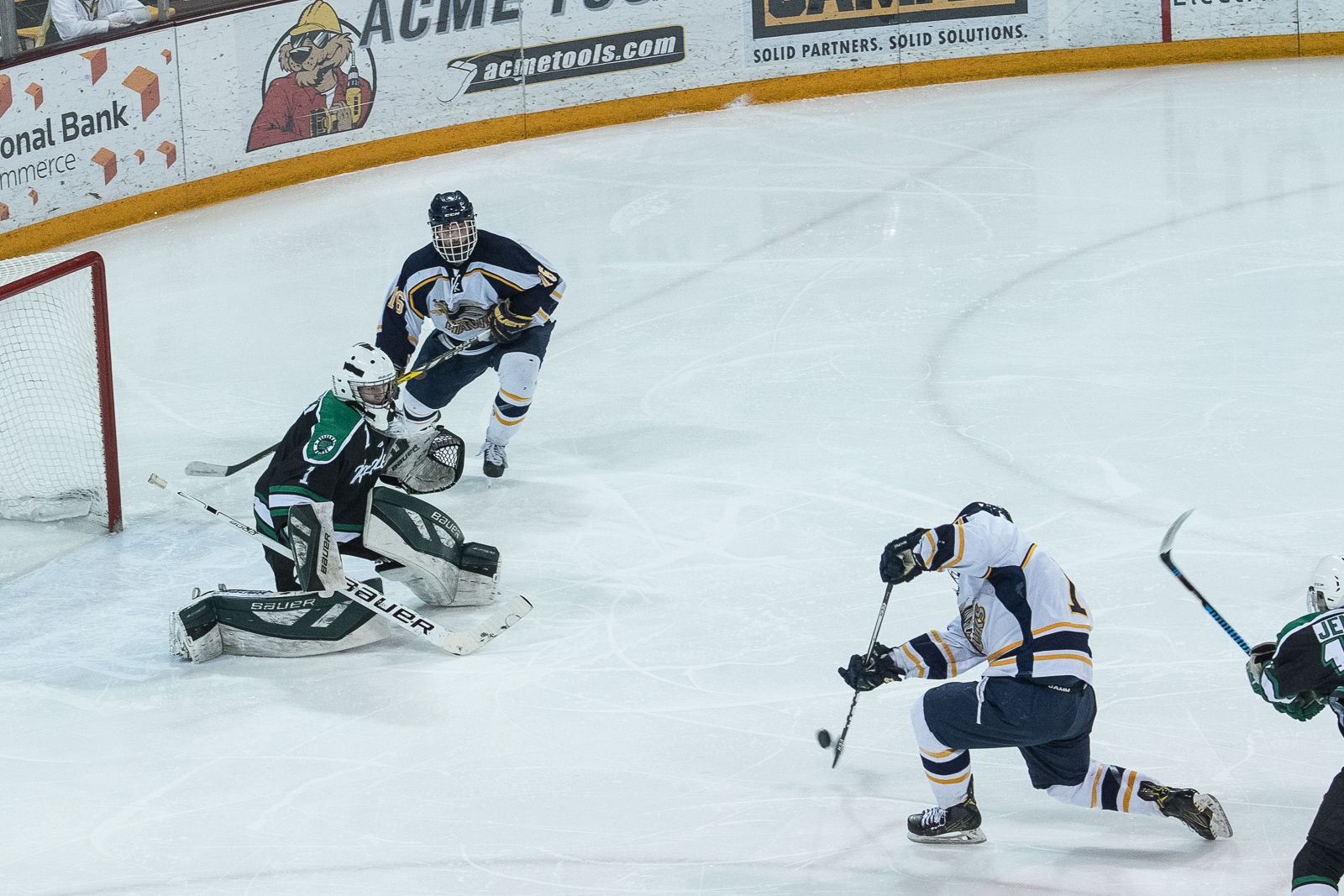 Hermantown's Tyler Watkins (18) with the goal to put Hermantown up 4-0 to start the 3rd period. Photo by Matthew Moses, SportsEngine