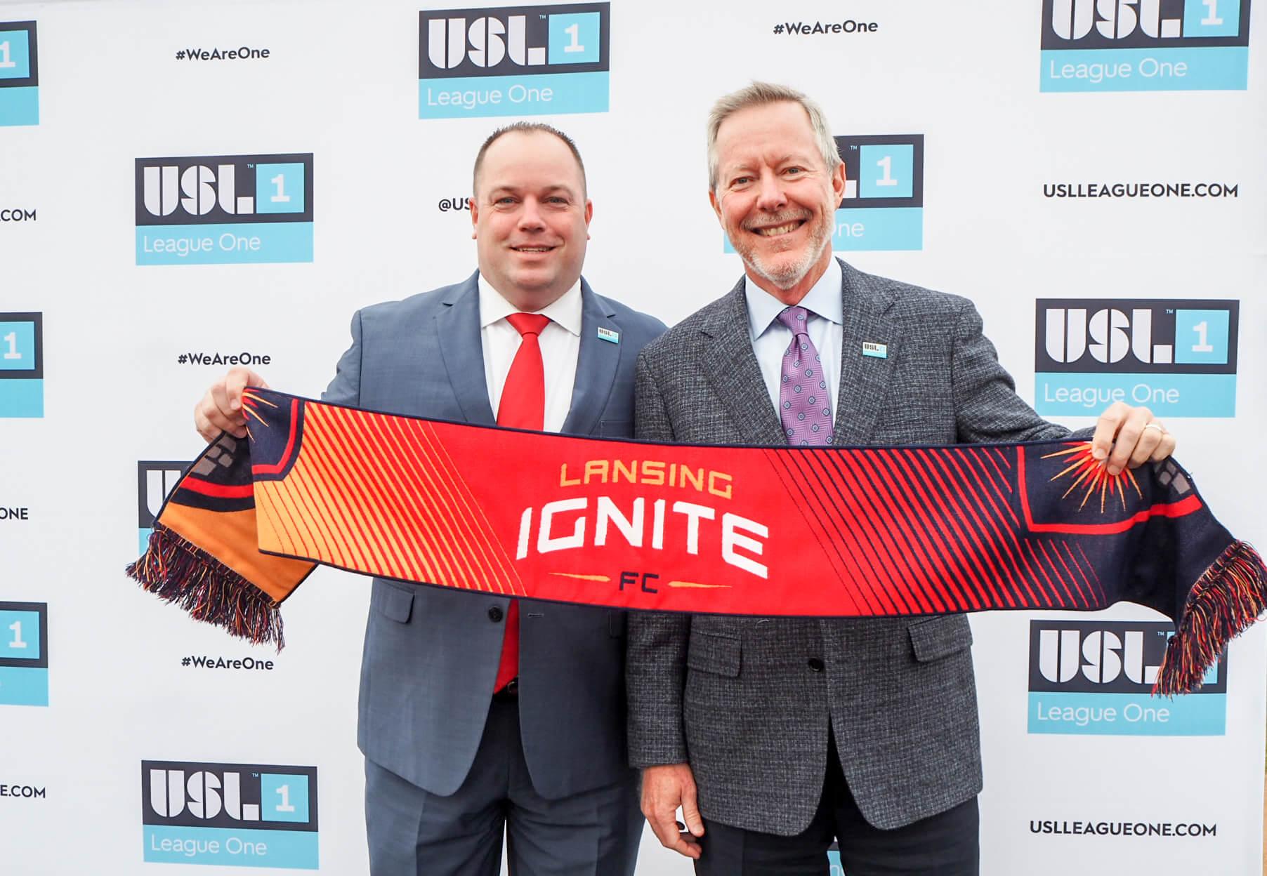 Photo by Aaron Cranford // USL League One Senior VP Steven Short with Lansing Ignite FC Owner Tom Dickson